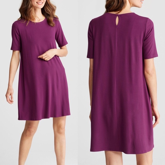 4253f6586f Eileen Fisher Dresses   Skirts - Eileen Fisher Purple Round Neck  Elbow-Sleeve Dress